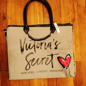 VICTORIA'S SECRET ANGEL CITY TOTE HANDBAG BAG GREY